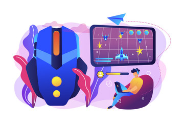 Gamer with laptop overcomes challenges in space video game and gaming mouse. Action games, first-person shooter, action games championship concept. Bright vibrant violet vector isolated illustration