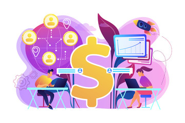 Salespeople team working remotely with customers all over the world and dollar sign. Virtual sales, remote sales method, virtual sales team concept. Bright vibrant violet vector isolated illustration