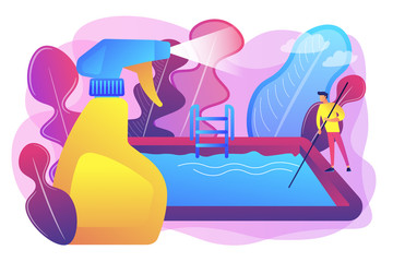 Swimming pool service worker with net cleaning water. Pool and outdoor cleaning, swimming pool service, outdoor cleaning company concept. Bright vibrant violet vector isolated illustration