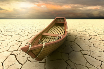 3D rendering of a conceptual representation of a drought with a boat on a dry lake
