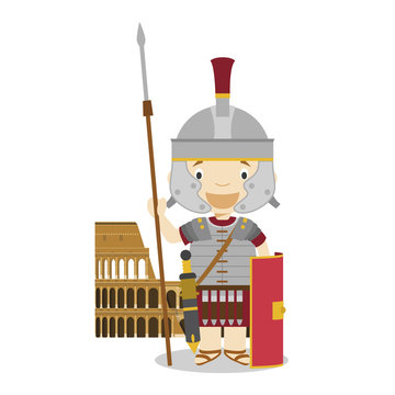 Roman Empire soldier cartoon character with The Colisseum. Vector Illustration. Kids History Collection.