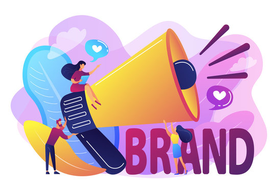 Marketers with megaphone conducting brand awareness campaign. Brand awareness, product research result, marketing survey metrics concept. Bright vibrant violet vector isolated illustration