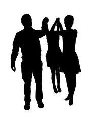 Silhouettes of a family with two children