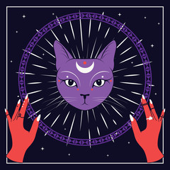 Violet cat face with moon on night sky with ornamental round frame. Red hands. Magic, occult symbols.