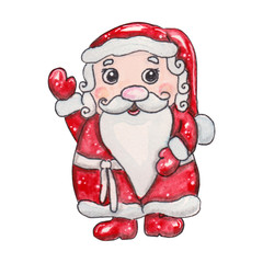 watercolor hand drawn fabulous Christmas character
