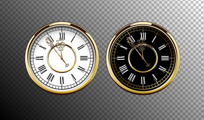 Vintage luxury golden wall clock with roman numbers isolated on transparent background. Realistic black and white round clock-face dial. Glossy gold frame ring. Time scale vector icon.