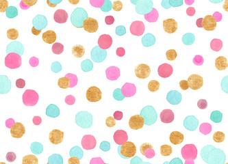 Wzór z kolorowe różowe, niebieskie i złote konfetti kropki malowane w akwarela na białym tle - 238214765