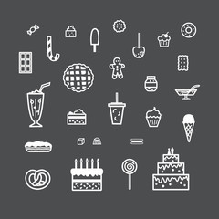 Collection of pictures depicting various confectionery products. Sweets in a linear style.