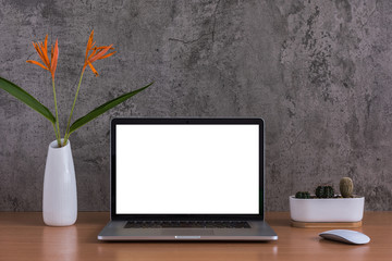 Blank screen of laptop computer, mouse, cactus and flowers vase on raw concrete background