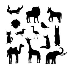 set of animal silhouettes isolated