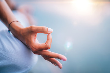 Yoga Woman Hands. Lotus Position