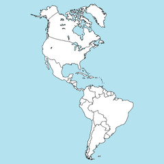 Map of North and South America. Vector illustration outline map of South America, North America. Hand drawn atlas, globe, map of South and North America.
