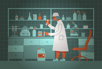 Biological laboratory. Laboratory assistants work in the laboratory. Scientific experiment. The interior of the laboratory. Vector illustration in flat style.