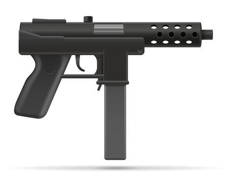 machine submachine hand gun street gang weapons stock vector illustration