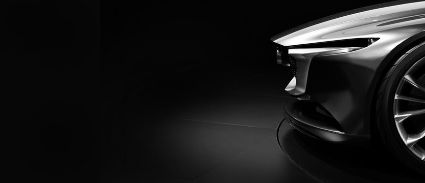 Detail on one of the LED headlights modern car on black background