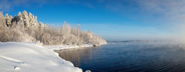 зимний пейзаж на Уральском озере с туманом и деревьями в снегу, Россия, январь