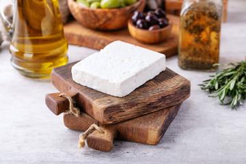 Traditional greek appetizer goat feta cheese
