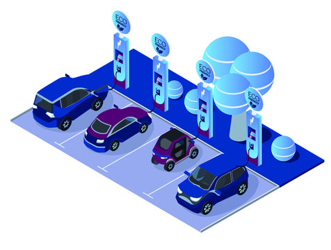 Electric car charging station concept. EV recharging point or EVSE.  Isometric flat car charging illustration. Eco friendly car, green energy