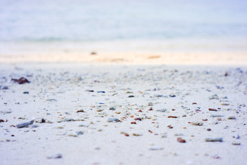 White sand beach. with beautiful sea at Gulf of Thailand.