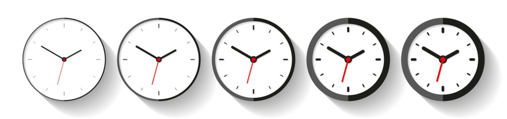 Clock in flat style, icon set. Minimalistic timer on white background. From thin to thick lines. Business watch. Vector design elements for you project