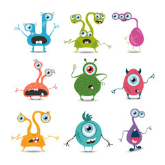 Cartoon monsters set. Cute and funny cartoon monsters icons. Vector illustration.