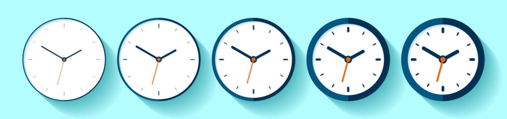 Clock in flat style, icon set. Minimalistic timer on color background. From thin to thick lines. Business watch. Vector design elements for you project