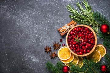 Christmas food drink or baking background top view.
