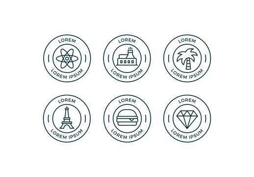 Illustrated Badges Set