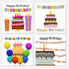 four greeting cards with sweet cake for birthday