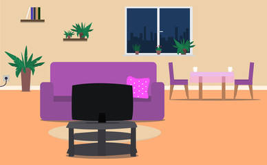 Cozy interior, living room and dining room with furniture: sofa, tv, table, chair, window, plants. Vector illustration.