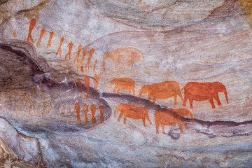 San rock art at the Stadsaal Caves in Cederberg Mountains