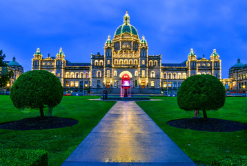 Historic parliament building in the citycenter at twilight time in Victoria, Vancouver Island, British Columbia, Canada