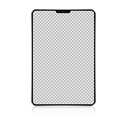 New Realistic Tablet PC Computer with transparent Screen Isolated on white Background. Can Use for Template, Project, Presentation or Banner. Electronic Gadget, Device Set Mock Up. Vector Illustration