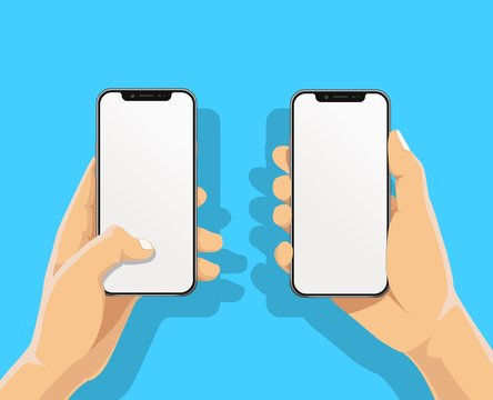 Hand holding black bazelless smartphone and finger touch, click on blank white screen on blue background with shadow. Human, Man, Woman using mobile phone, Vector flat cartoon design concept.