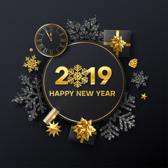 Happy New Year 2019 greeting card with golden clock, top view gifts and holiday decorations.