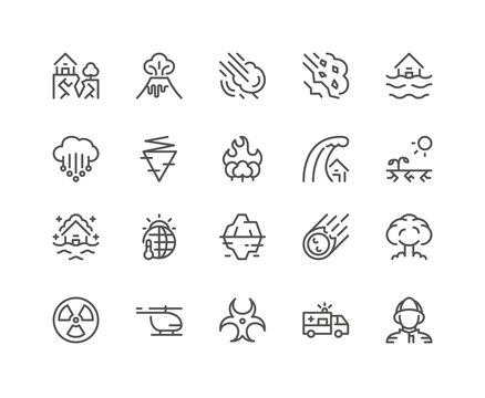 Set of Disasters vector icons, line style.