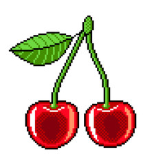 Pixel cherry fruit detailed illustration isolated vector