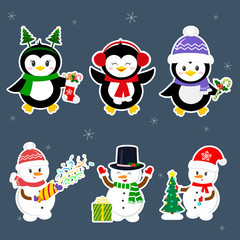 New Year and Christmas card. Set stickers of three penguins and three snowmen characters in different hats and poses in winter. Christmas tree, gifts, confetti. Cartoon style, vector