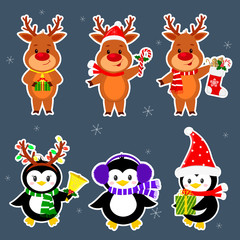 New Year and Christmas card. A set stickers of three penguins and three deer characters in different hats and poses in winter. Box with a gift, candy, sock, bell. Cartoon style, vector