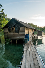 A fisher home on the Togian Islands in Sulawesi, Indonesia