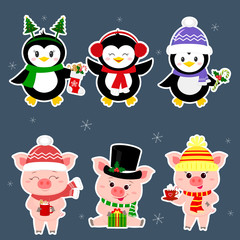 New Year and Christmas card. A set sticker of three piglets and three penguins is typical in different hats and poses in winter. Gift box, candy, hot drink. Cartoon style, vector