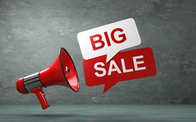 3D Illustration Megaphone big sale rot weiss