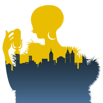Silhouette of woman singer and skyline of city inside. Retro style.