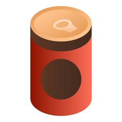 Tomato soup can icon. Isometric of tomato soup can vector icon for web design isolated on white background