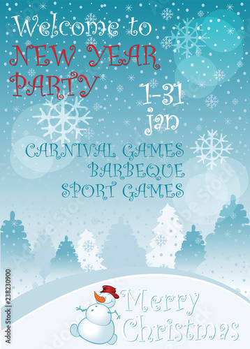 Winter Holiday Party Invitation Template Winter Country Landscape
