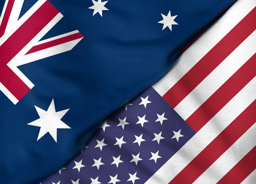 Two flags. 3D. United States and Australia.