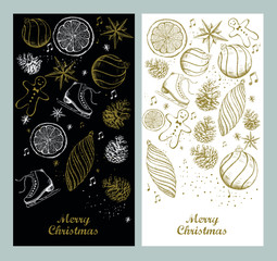Merry Christmas and New Year set. Christmas Doodle collection.