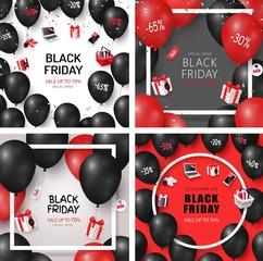 Set of Black Friday Sale Cards Vector Illustration