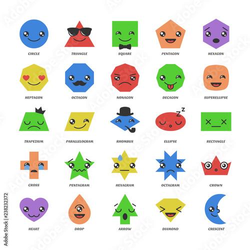 Big set vector basic shapes with kawaii emojis face  Cartoon