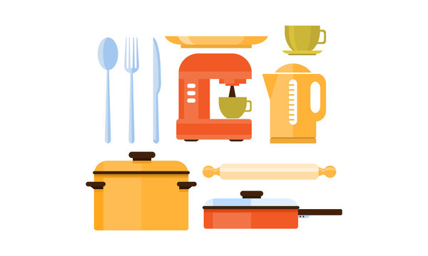 Flat vector set of kitchen utensils and appliances. Cutlery, cup and plate, coffee machine and kettle. Kitchenware theme